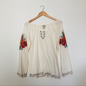 Lucky Brand Embroidered Flowy Boho Top Size M